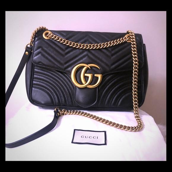 Gucci Bags   Marmont Gg Medium Matelass Chevron Leather Bag   Poshmark 1eabab8972